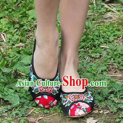 Traditional Chinese Shoes, China Handmade Embroidered Slippers Black Shoes, Ancient Princess Linen Shoes for Women