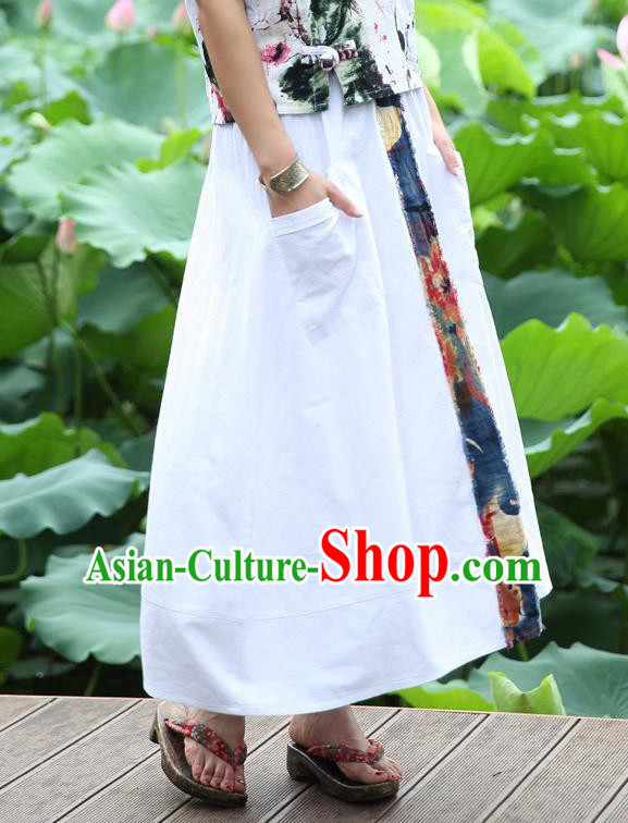 Traditional Ancient Chinese National Pleated Skirt Costume, Elegant Hanfu Embroidery Long White Dress, China Tang Dynasty Bust Skirt for Women