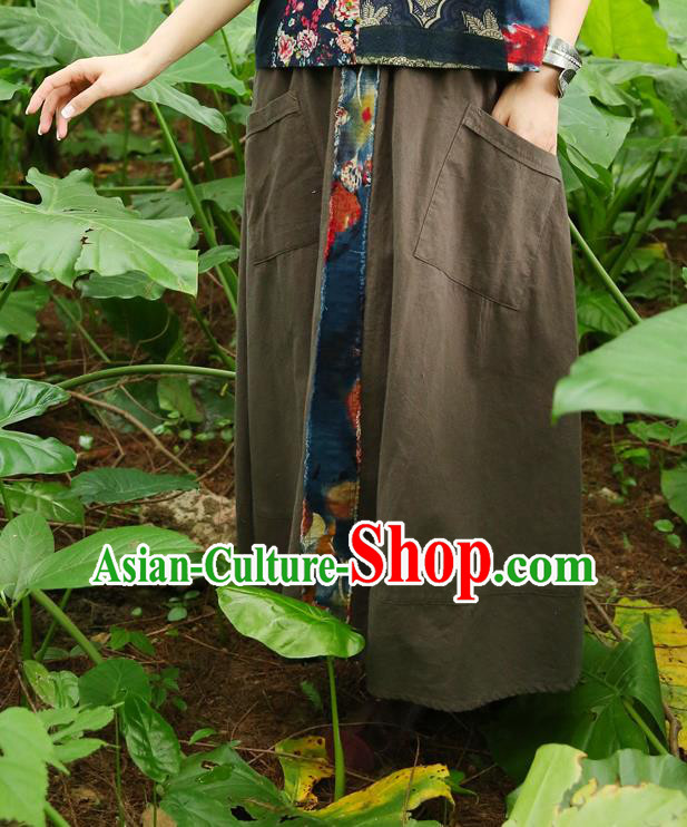 Traditional Ancient Chinese National Pleated Skirt Costume, Elegant Hanfu Embroidery Long Green Dress, China Tang Dynasty Bust Skirt for Women