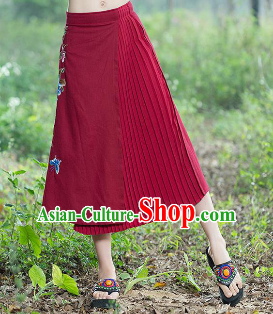 Traditional Ancient Chinese National Pleated Skirt Costume, Elegant Hanfu Embroidery Long Red Dress, China Tang Suit Bust Skirt for Women