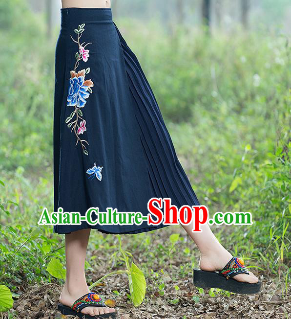 Traditional Ancient Chinese National Pleated Skirt Costume, Elegant Hanfu Embroidery Long Navy Dress, China Tang Suit Bust Skirt for Women