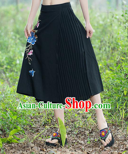 Traditional Ancient Chinese National Pleated Skirt Costume, Elegant Hanfu Embroidery Long Black Dress, China Tang Suit Bust Skirt for Women