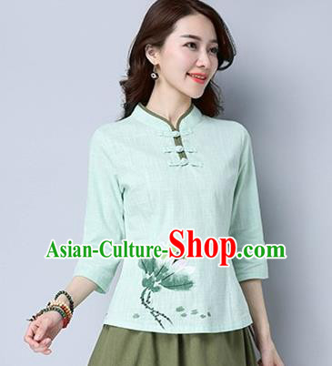 Traditional Chinese National Costume, Elegant Hanfu Hand Painting Flowers Blue T-Shirt, China Tang Suit Republic of China Plated Buttons Chirpaur Blouse Cheong-sam Upper Outer Garment Qipao Shirts Clothing for Women