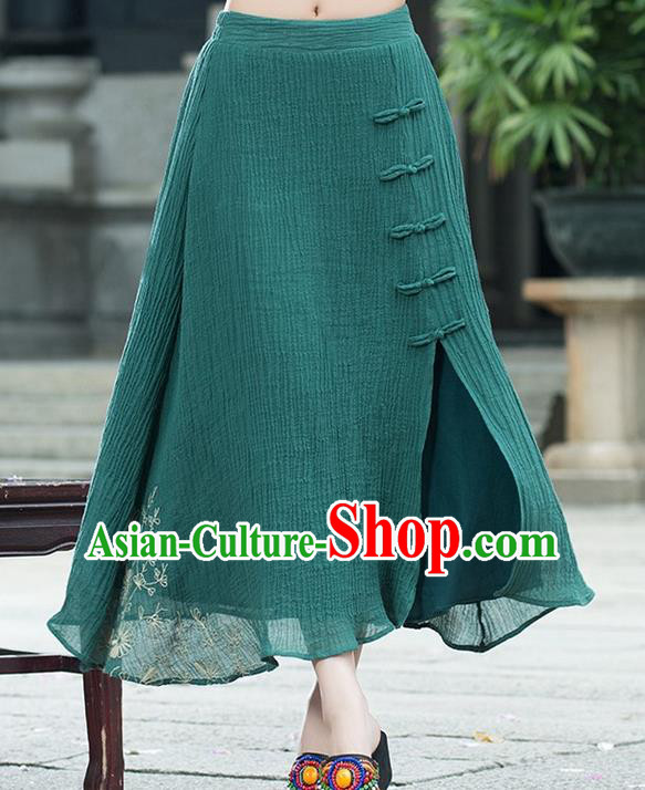 Traditional Ancient Chinese National Pleated Skirt Costume, Elegant Hanfu Embroidery Long Green Dress, China Tang Suit Bust Skirt for Women