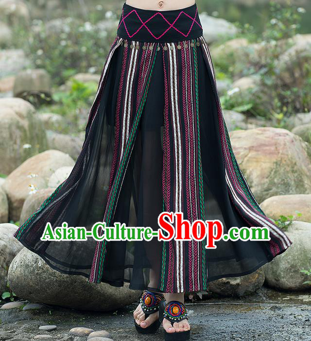 Traditional Ancient Chinese National Pleated Skirt Costume, Elegant Hanfu Embroidery Long Black Dress, China Tang Suit National Minority Bust Skirt for Women
