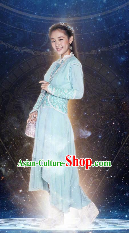 Asian Chinese Ancient Tang Dynasty Young Lady Costume and Headwear, Fighter of the Destiny Traditional Chinese Ancient Peri Princess Clothing Complete Set