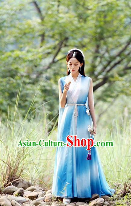 Chinese Ancient Tang Dynasty Peri Saintess Costume and Headwear, Fighter of the Destiny Traditional Chinese Ancient Princess Clothing Complete Set