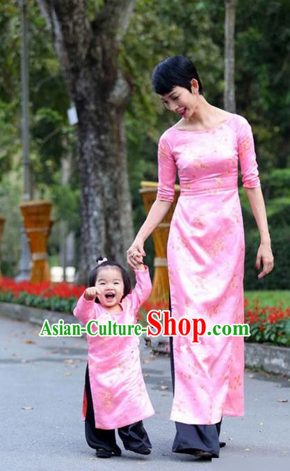 Top Grade Asian Vietnamese Traditional Dress, Vietnam National Farmwife Ao Dai Dress, Vietnam Pink Ao Dai Cheongsam Mother-child Dress Clothing for Woman