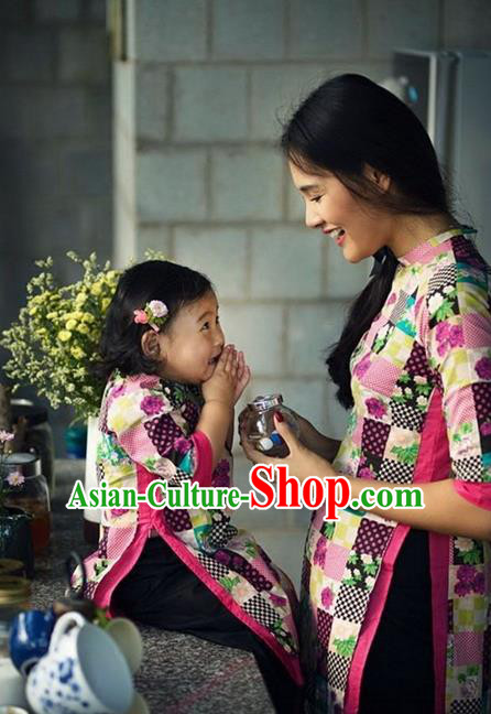 Top Grade Asian Vietnamese Traditional Dress, Vietnam National Farmwife Ao Dai Dress, Vietnam Ao Dai Cheongsam Mother-child Dress Clothing for Woman