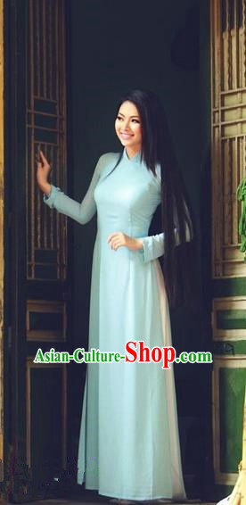 Top Grade Asian Vietnamese Traditional Dress, Vietnam National Princess Ao Dai Dress, Vietnam Blue Ao Dai Cheongsam Dress Clothing for Woman