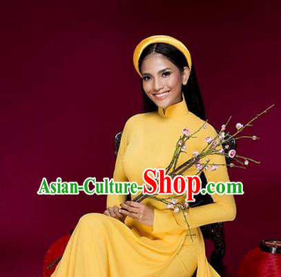 Top Grade Asian Vietnamese Traditional Dress, Vietnam National Princess Ao Dai Dress, Vietnam Yellow Ao Dai Cheongsam Dress Clothing for Woman
