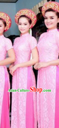 Top Grade Asian Vietnamese Traditional Dress, Vietnam National Princess Ao Dai Dress, Vietnam Bride Pink Lace Ao Dai Cheongsam Dress Clothing for Woman