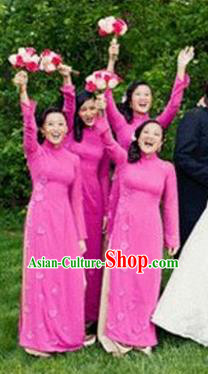 Top Grade Asian Vietnamese Traditional Dress, Vietnam National Princess Ao Dai Dress, Vietnam Bride Rose Flower Ao Dai Cheongsam Dress Clothing for Woman
