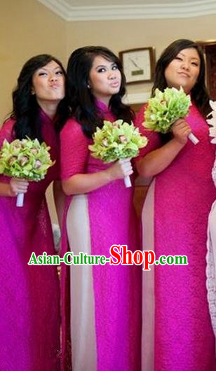 Top Grade Asian Vietnamese Traditional Dress, Vietnam National Princess Ao Dai Dress, Vietnam Bride Rose Ao Dai Cheongsam Dress Clothing for Woman