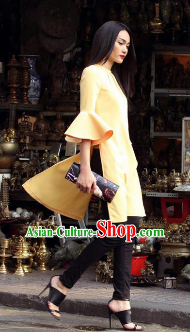 Top Grade Asian Vietnamese Traditional Dress, Vietnam National Princess Ao Dai Dress, Vietnam Yellow Lotus Sleeve Ao Dai Cheongsam Dress for Woman
