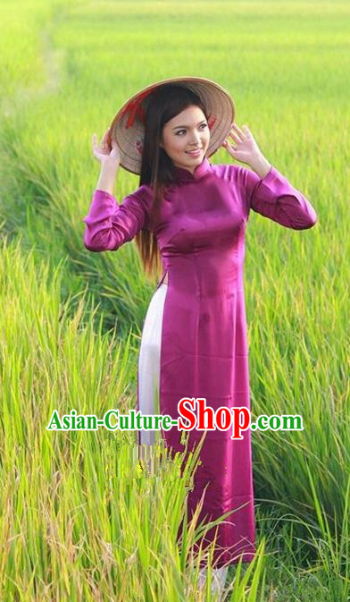 Top Grade Asian Vietnamese Traditional Dress, Vietnam National Princess Ao Dai Dress, Vietnam Purple Ao Dai Cheongsam Dress and Pants Clothing for Woman
