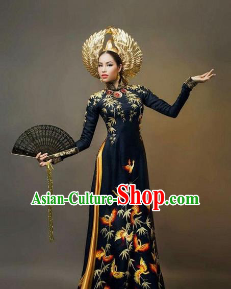 Top Grade Asian Vietnamese Traditional Dress, Vietnam National Queen Ao Dai Dress, Vietnam Palace Royal Empress Black Ao Dai Cheongsam Dress Clothing for Woman