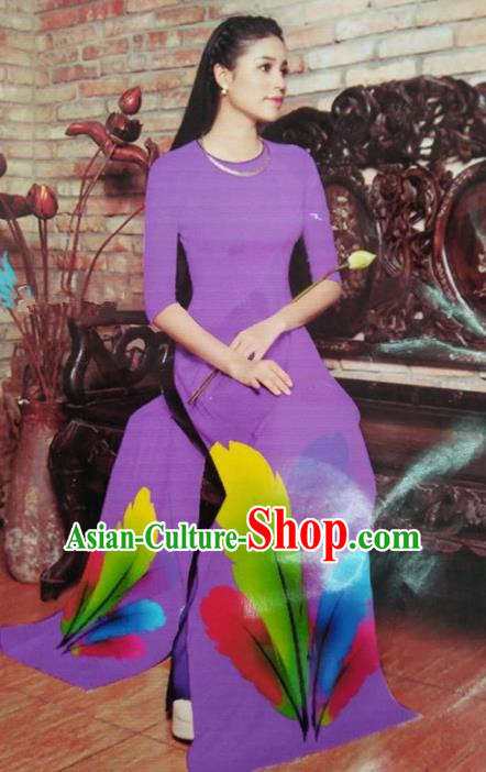 Top Grade Asian Vietnamese Traditional Dress, Vietnam National Queen Ao Dai Dress, Vietnam Palace Princess Purple Printing Ao Dai Cheongsam Dress Clothing for Woman