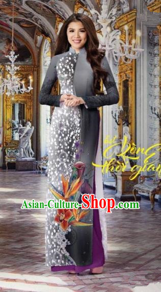 Top Grade Asian Vietnamese Traditional Dress, Vietnam National Queen Ao Dai Dress, Vietnam Palace Princess Black Printing Ao Dai Cheongsam Dress Clothing for Woman