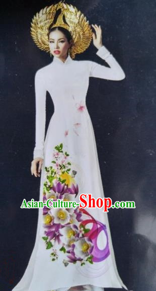 Top Grade Asian Vietnamese Traditional Dress, Vietnam National Queen Ao Dai Dress, Vietnam Palace Princess White Printing Ao Dai Cheongsam Dress Clothing for Woman