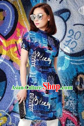 Top Grade Asian Vietnamese Traditional Dress, Vietnam National Queen Ao Dai Dress, Vietnam Palace Princess Blue Printing Ao Dai Cheongsam Dress Clothing for Woman