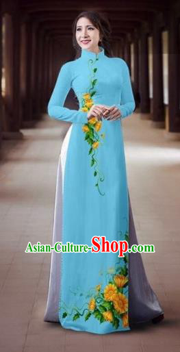 Traditional Top Grade Asian Vietnamese Dress, Vietnam National Female Ao Dai Dress Women Blue Printing Cheongsam Clothing
