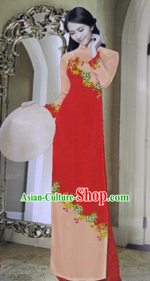 Traditional Top Grade Asian Vietnamese Dress, Vietnam National Female Ao Dai Dress Women Red Printing Cheongsam Clothing