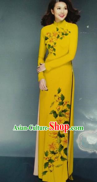 Traditional Top Grade Asian Vietnamese Dress, Vietnam National Female Ao Dai Dress Women Printing Yellow Chiffon Cheongsam Clothing