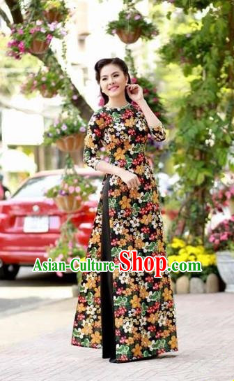Traditional Top Grade Asian Vietnamese Dress, Vietnam National Female Ao Dai Dress Women Printing Cheongsam Clothing