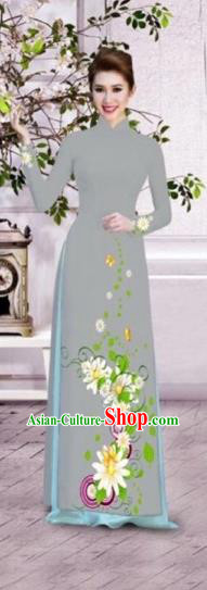 Traditional Top Grade Asian Vietnamese Dress, Vietnam National Female Ao Dai Dress Women Grey Printing Flowers Suit Cheongsam Clothing