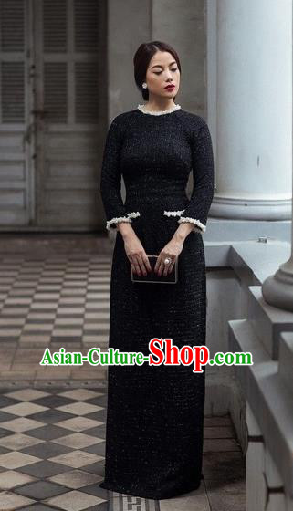 Traditional Top Grade Asian Vietnamese Dress, Vietnam National Female Ao Dai Dress Women Black Suit Cheongsam Clothing