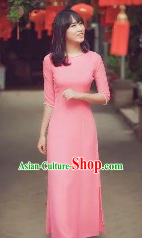 Traditional Top Grade Asian Vietnamese Dress, Vietnam National Female Ao Dai Dress Women Pink Ao Dai Suit Cheongsam Clothing