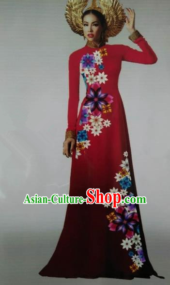 Traditional Top Grade Asian Vietnamese Dress, Vietnam National Female Ao Dai Dress Women Red Embroidered Ao Dai Cheongsam Clothing