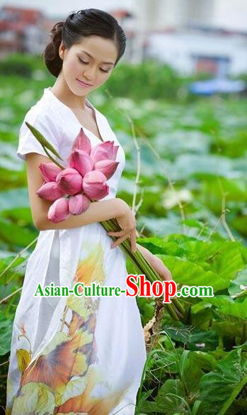 Traditional Top Grade Asian Vietnamese Dress, Vietnam National Female Ao Dai Dress Women Printing Lotus Ao Dai Cheongsam Clothing