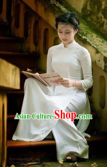 Traditional Top Grade Asian Vietnamese Dress, Vietnam National Female Ao Dai Dress Women White Ao Dai Cheongsam Clothing