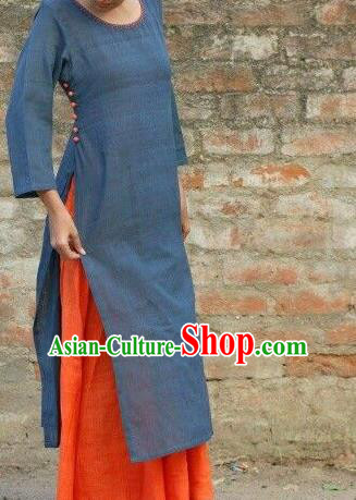 Traditional Top Grade Asian Vietnamese Dress, Vietnam National Female Ao Dai Dress Women Navy Linen Ao Dai Cheongsam Clothing