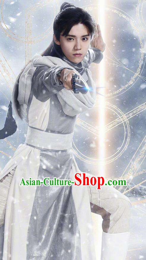 Chinese Ancient Tang Dynasty Prince Swordsman Costume and Headwear Complete Set, Fighter of the Destiny Traditional Chinese Ancient Kawaler Clothing for Men