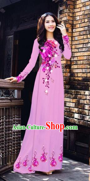 Traditional Top Grade Asian Vietnamese Costumes Dance Dress, Vietnam National Women Ao Dai Dress Printing Flowers Pink Cheongsam Clothing