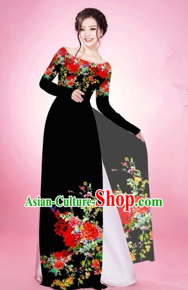 Traditional Top Grade Asian Vietnamese Costumes, Vietnam National Women Ao Dai Dress Embroidery Black Clothing