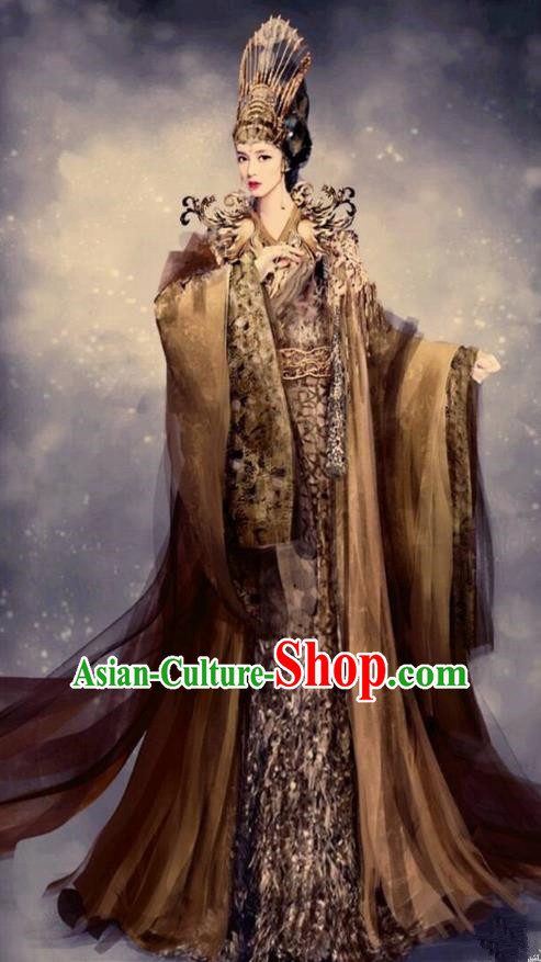 Traditional Chinese Ancient Shang Dynasty Imperial Queen Tailing Embroidered Costume, China Mythology Television Zhao Ge Ancient Palace Empress Clothing and Headpiece Complete Set for Women
