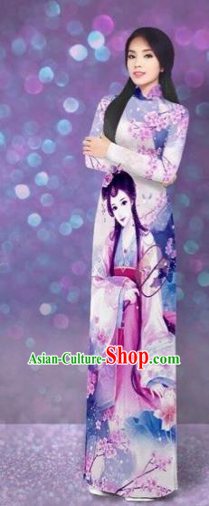 Traditional Top Grade Asian Vietnamese Costumes Classical Printing Beauty Cheongsam, Vietnam National Lilac Ao Dai Dress for Women