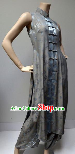 Traditional Top Grade Asian Vietnamese Costumes Classical Plated Buttons Cheongsam, Vietnam National Grey Ao Dai Dress and Pants Complete Set for Women