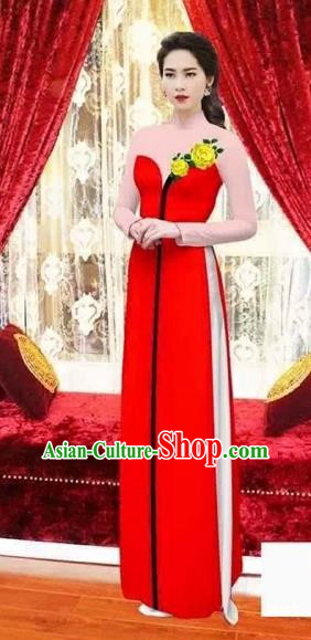 Traditional Top Grade Asian Vietnamese Costumes Classical Wedding Bride Toast Cheongsam, Vietnam National Princess Matching Red Printing Ao Dai Dress for Women
