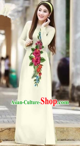 Traditional Top Grade Asian Vietnamese Costumes Classical Printing Cheongsam, Vietnam National Ao Dai Dress Beauty Contest White Full Dress for Women