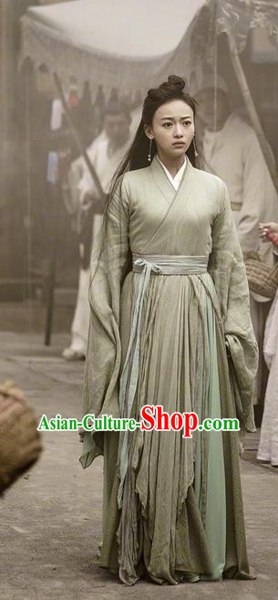 Traditional Chinese Ancient Shang Dynasty Swordsman Costume, China Mythology Television Zhao Ge Ancient Chivalrous Expert Clothing and Headwear Complete Set for Women