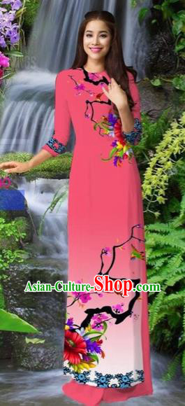 Traditional Top Grade Asian Vietnamese Costumes Classical Pink Cheongsam, Vietnam National Printing Ao Dai Dress for Women