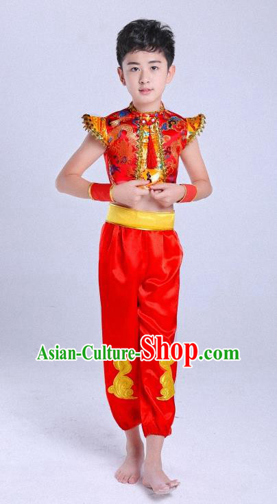 Traditional Chinese Classical Dance Yangge Fan Dance Costume, Children Folk Dance Drum Dance Uniform Yangko Red Clothing for Boys Kids