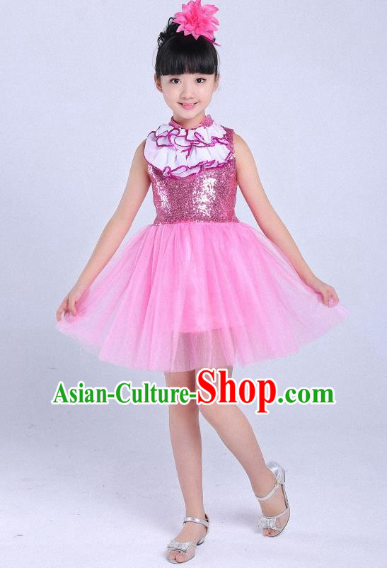 Top Grade Professional Performance Catwalks Costume, Children Chorus Full Dress Modern Dance Little Princess Pink Bubble Dress for Girls Kids