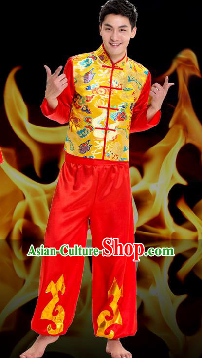 Traditional Chinese Classical Dance Yangge Fan Dance Costume, Folk Dance Drum Dance Uniform Yangko Long Sleeve Clothing Complete Set for Men