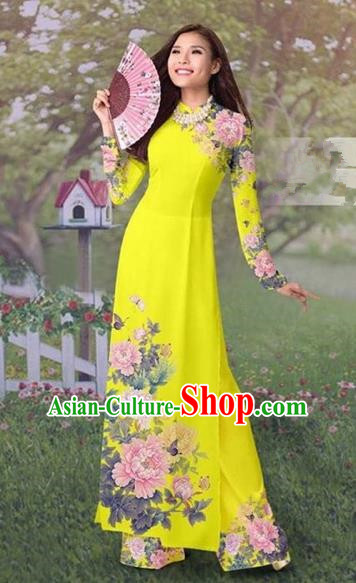 Traditional Top Grade Asian Vietnamese Costumes Classical Painting Cheongsam, Vietnam National Vietnamese Young Lady Ao Dai Dress and Loose Pants